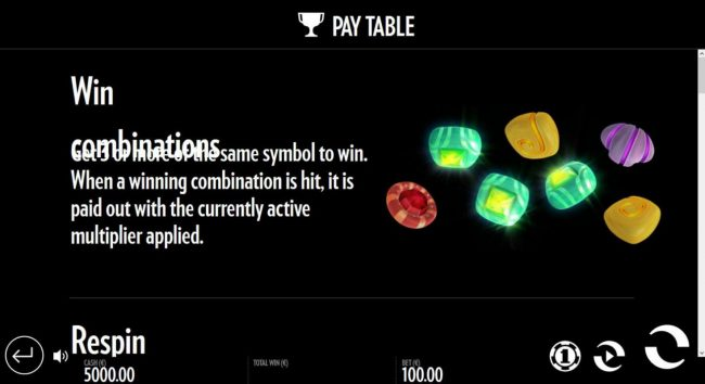 Well of Wonders :: Win Combinations - Get 3 or more of the same symbol to win. When a winning combination is hit, it is paid out with the currently active multiplier applied.