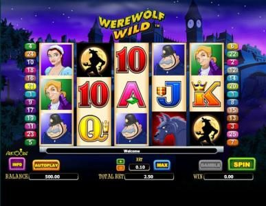 Werewolf Wild :: main game board featuring five reels and 25 paylines