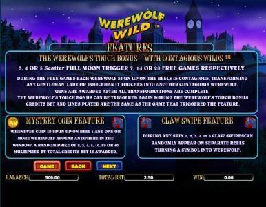 bonus features rules