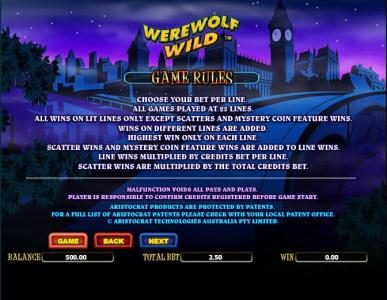 Amsterdam Casino featuring the Video Slots Werewolf Wild with a maximum payout of $4,000