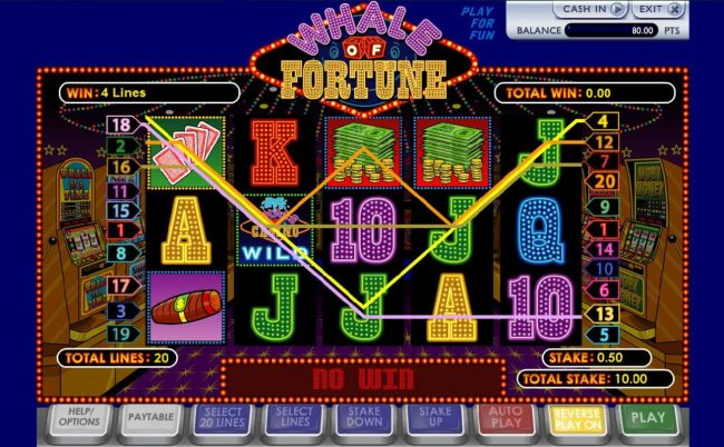 Wicked Jackpots featuring the Video Slots Whale of Fortune with a maximum payout of $10,000