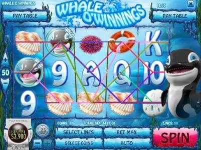 Rockbet featuring the Video Slots Whale O' Winnings with a maximum payout of $19,442