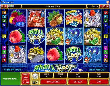 Play slots at Colosseum: Colosseum featuring the Video Slots What a Hoot with a maximum payout of $25,000