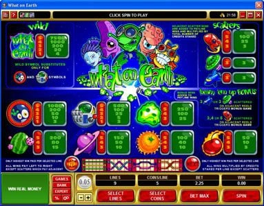 Platinum Play featuring the Video Slots What on Earth with a maximum payout of $37,500