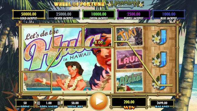 Vegas Baby featuring the Video Slots Wheel of Fortune Hawaiian Getaway with a maximum payout of $25,000,000