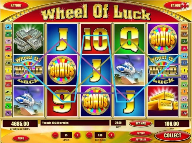 Play slots at Kingbit Casino: Kingbit Casino featuring the Video Slots Wheel of Luck with a maximum payout of $200,000