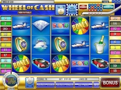 Black Diamond featuring the Video Slots Wheel of Cash with a maximum payout of $12,500