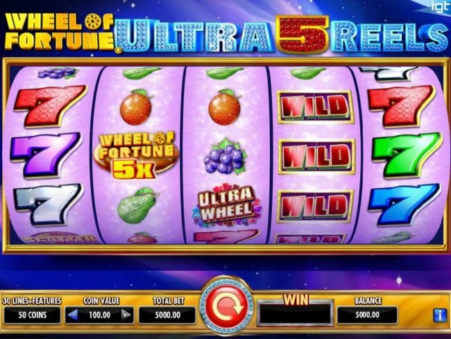 Wheel of Fortune Ultra 5 Reels :: Main game board featuring five reels and 720 winning combinations with a $250,000 max payout