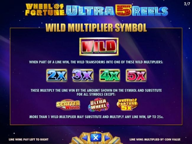 Wheel of Fortune Ultra 5 Reels :: Wild Multiplier Symbol Rules