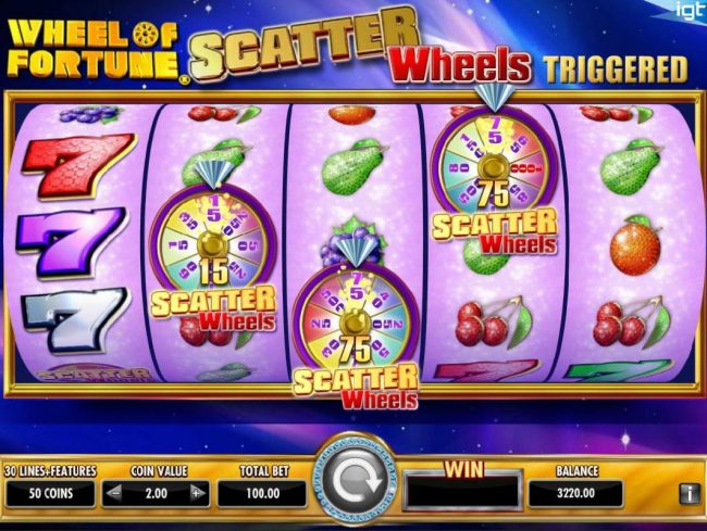 Wheel of Fortune Ultra 5 Reels :: Scatter Wheel Bonus feature triggered.