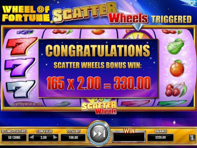 Wheel of Fortune Ultra 5 Reels :: Bonus feature pays out a total of 330.00 for a big win.