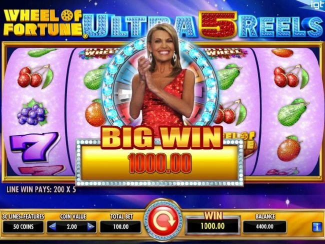 Wheel of Fortune Ultra 5 Reels :: A 1000.00 big win paid out.