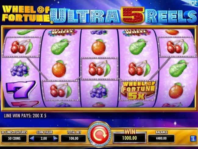 Wheel of Fortune Ultra 5 Reels :: A five of a kind triggered with a 5x wild multiplier leads to a big win.