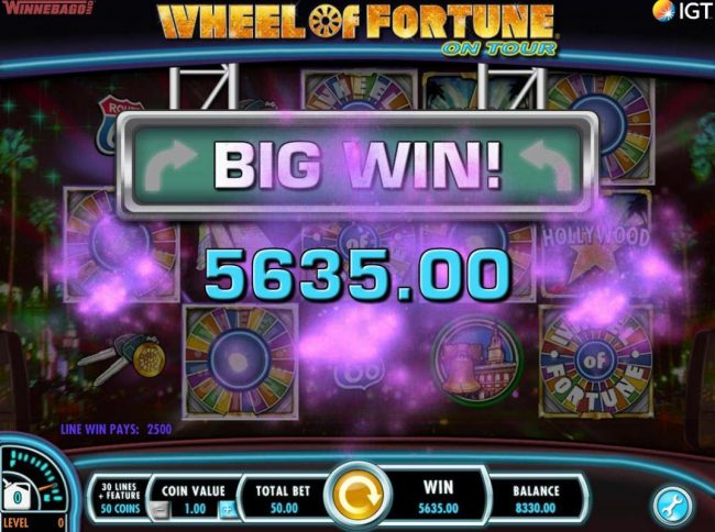 Virgin featuring the Video Slots Wheel of Fortune on Tour with a maximum payout of $250,000