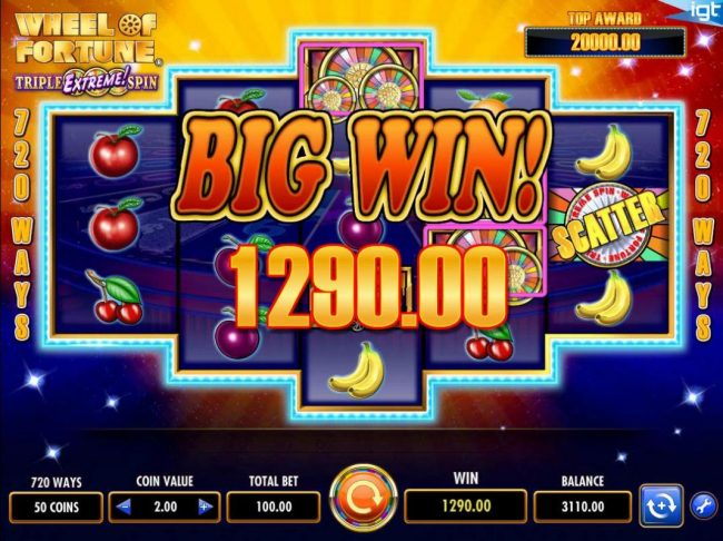 Play slots at Winstar: Winstar featuring the Video Slots Wheel of Fortune Triple Extreme Spin with a maximum payout of $250,000