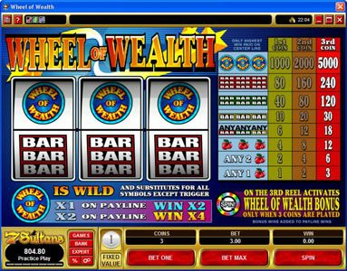 Play slots at Yukon Gold: Yukon Gold featuring the Video Slots Wheel of Wealth with a maximum payout of $15,000