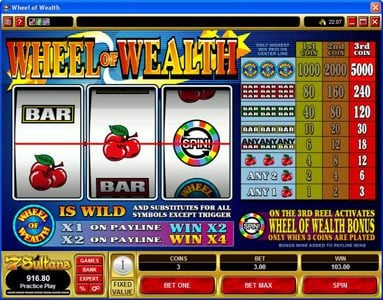 Kerching featuring the Video Slots Wheel of Wealth with a maximum payout of $15,000