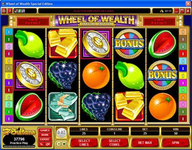 Players Palace featuring the Video Slots Wheel of Wealth Special Edition with a maximum payout of $50,000