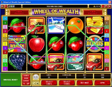 Play slots at Royal Vegas: Royal Vegas featuring the Video Slots Wheel of Wealth Special Edition with a maximum payout of $50,000