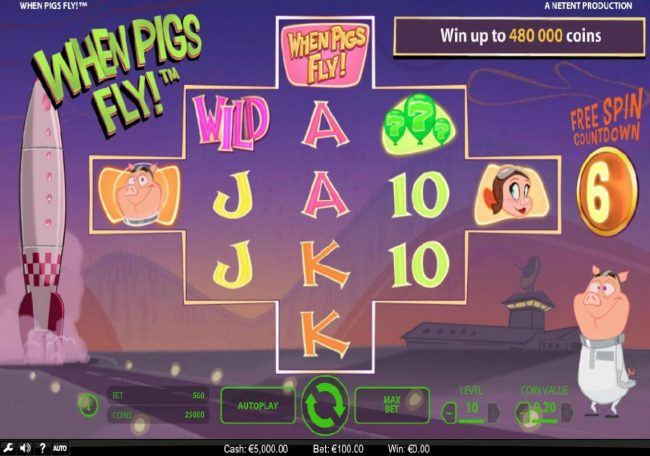 AC Casino featuring the Video Slots When Pigs Fly with a maximum payout of $240,000