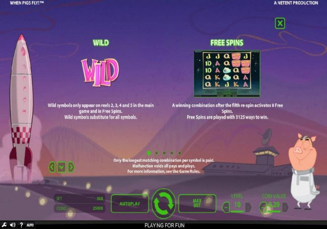 VipSpel featuring the Video Slots When Pigs Fly with a maximum payout of $240,000