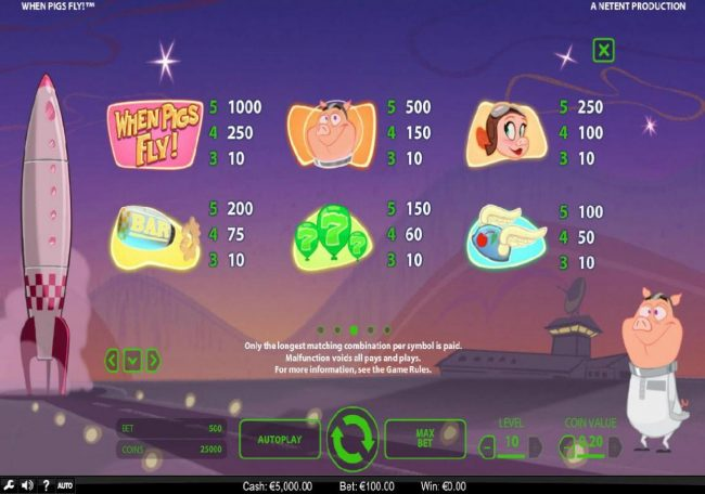 My Win 24 featuring the Video Slots When Pigs Fly with a maximum payout of $240,000