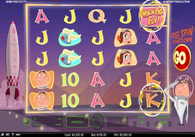 Fruity Vegas featuring the Video Slots When Pigs Fly with a maximum payout of $240,000