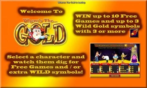 splash screen, win up to 10 free games and up to 3 wild gold symbols with 3 or more dynamite symbols