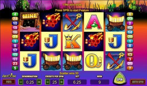 Where's The Gold :: bonus round triggered with 3 dynamite symbols