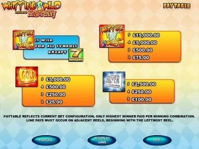 DruckGluck featuring the Video Slots Whipping Wild with a maximum payout of $15,000