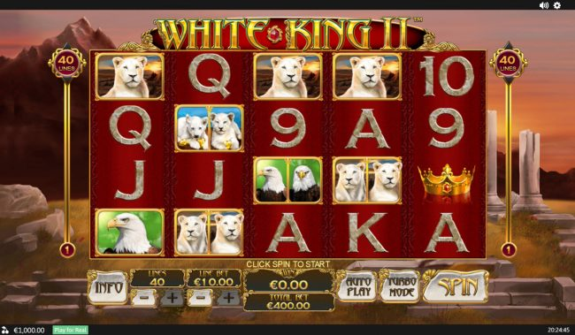 Play slots at Casino Las Vegas: Casino Las Vegas featuring the Video Slots White King II with a maximum payout of $200,000