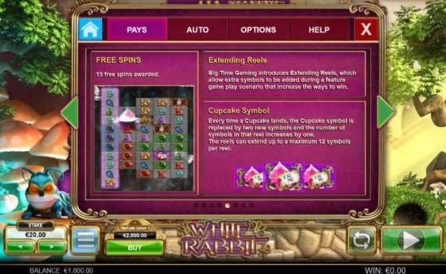 White Rabbit :: Free Spins, Extending Reels and Cupcake Symbols Rules