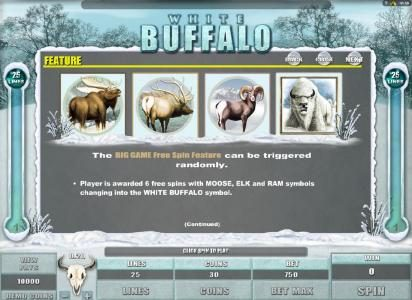 Slots Cafe featuring the Video Slots White Buffalo with a maximum payout of $6,000