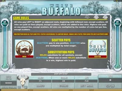 21 Jackpots featuring the Video Slots White Buffalo with a maximum payout of $6,000