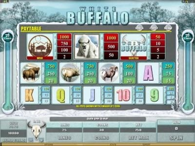 Vegas Paradice featuring the Video Slots White Buffalo with a maximum payout of $6,000