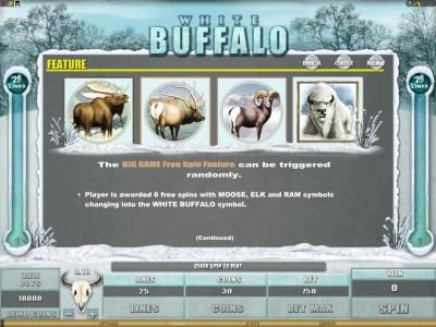 Ruby Fortune featuring the Video Slots White Buffalo with a maximum payout of $6,000