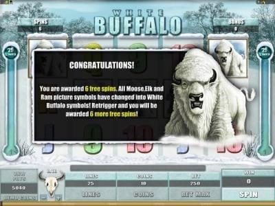 Casino-X featuring the Video Slots White Buffalo with a maximum payout of $6,000