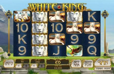White King :: Main game board featuring five reels and 40 paylines with a $50,000 max payout