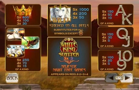 White King :: Slot game symbols paytable. The White Lion Wild is the highest value symbol on the game board. A five of a kind will pay 1,000 coins.
