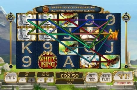 White King :: Multiple winning paylines triggers a big win!