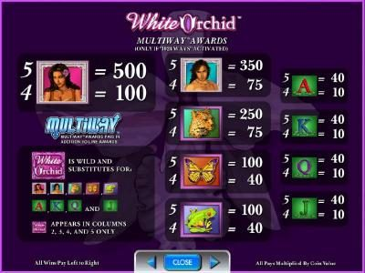 slot game symbols multiway awards paytable