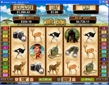 Play slots at Real Vegas Online: Real Vegas Online featuring the Video Slots White Rhino with a maximum payout of $250,000