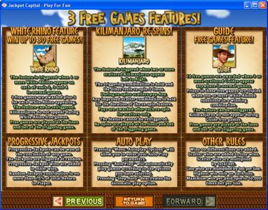 Slots Inferno featuring the Video Slots White Rhino with a maximum payout of $250,000