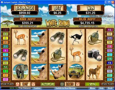 Siver Oak featuring the Video Slots White Rhino with a maximum payout of $250,000