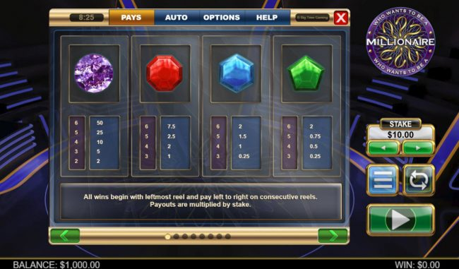 Jackpot Paradise featuring the Video Slots Who Wants To Be A millionaire Megaways with a maximum payout of $250,000