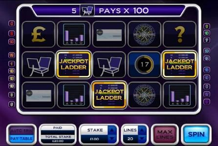 Who Wants To Be A Millionaire :: three jackpot ladder symbols triggers bonus feature