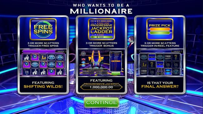 Play slots at Slots Heaven: Slots Heaven featuring the Video Slots Who Wants to be a Millionaire with a maximum payout of Jackpot