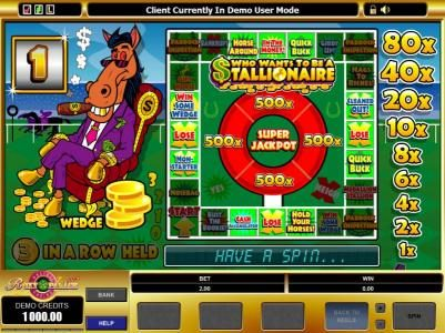 Shadowbet featuring the Video Slots Who Wants to be a Stallionaire with a maximum payout of $5,000