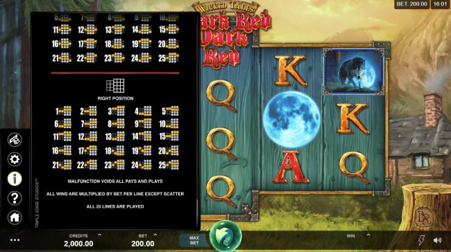Captain Cooks featuring the Video Slots Wicked Tales Dark Red with a maximum payout of $100,000
