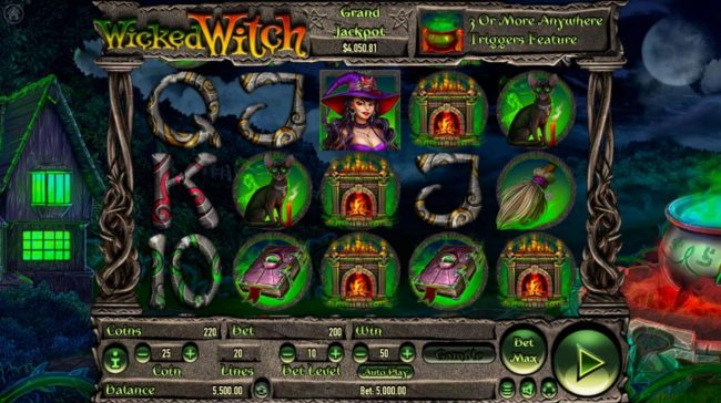 Play 24 Bet featuring the Video Slots Wicked Witch with a maximum payout of $250,000